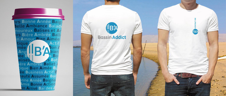 Logo marque bassin d'arcachon sur gobelet et t-shirt